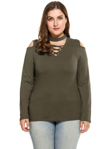 Meaneor Women Plus Sizes V-Neck Cold Shoulder Blouse