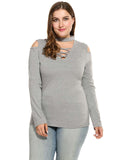 Meaneor Women Plus Sizes V-Neck Cold Shoulder Blouse Gray