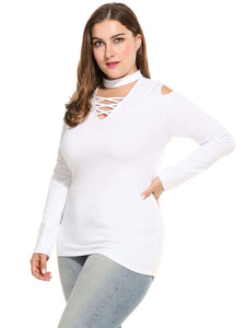 Meaneor Women Plus Sizes V-Neck Cold Shoulder Blouse White