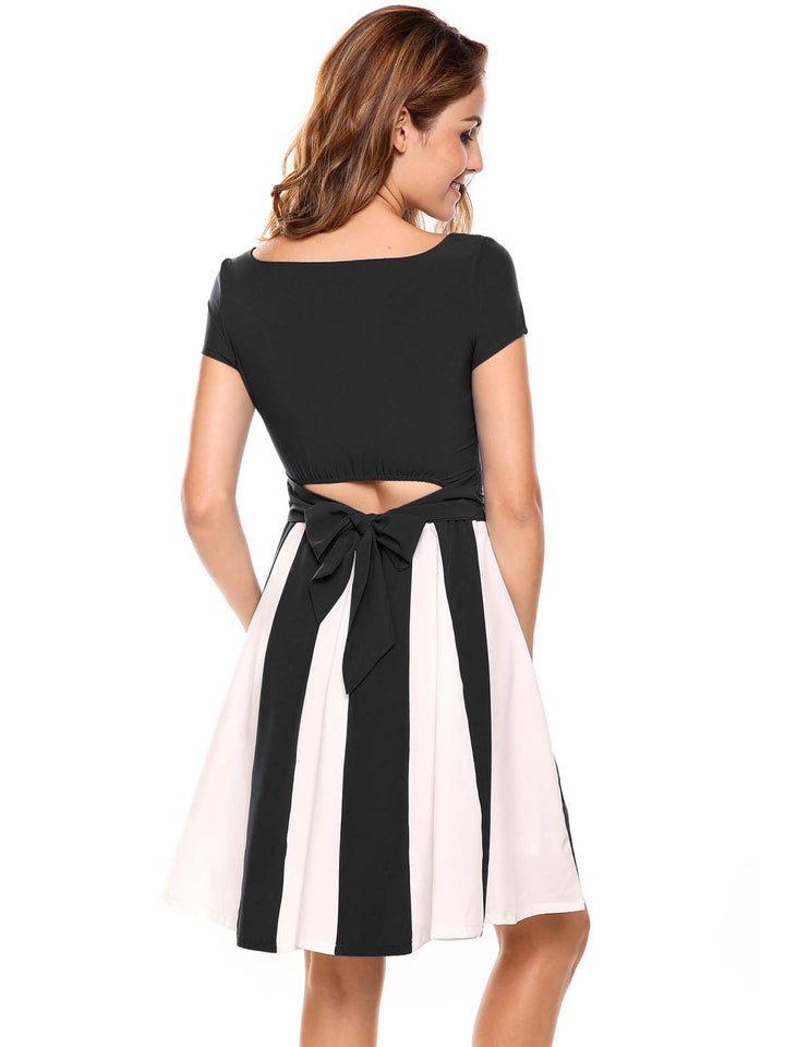 Meaneor Women  Patchwork Back Hollow Out Bow Tunic A-Line Dress with Lining