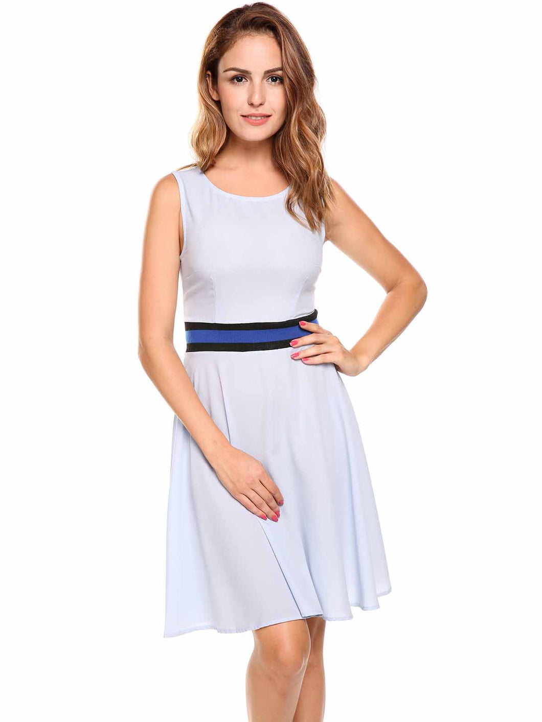 Meaneor Women Patchwork A-Line Pleated Hem Tunic Tank