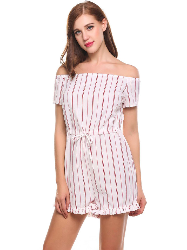 Meaneor Women Off Shoulder Striped Lace-up Ruffle Brim Romper