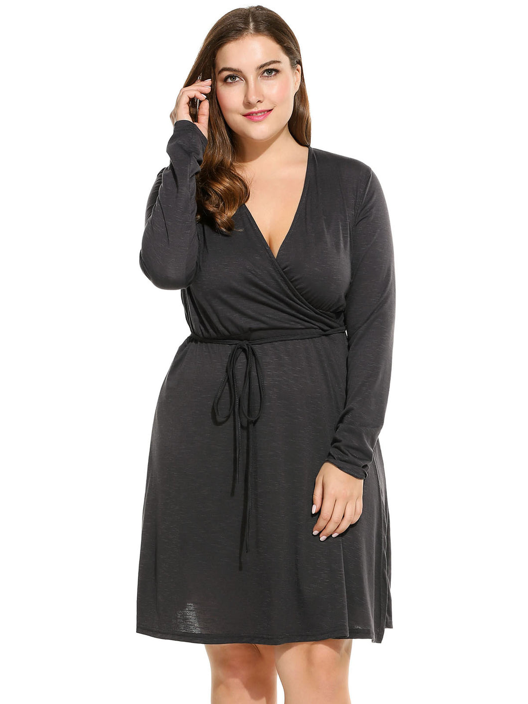 Women Casual Wrap Front V-Neck Long Sleeve Solid Short Dress