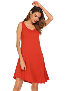 Meaneor Women O-Neck Sleeveless Solid Loose Swing Tank Dress