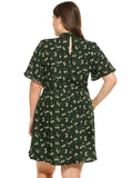 Women short flare sleeve a-line dress