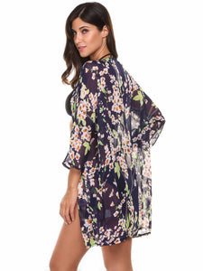 Meaneor Women Floral Print Chiffon Beach Cover Up