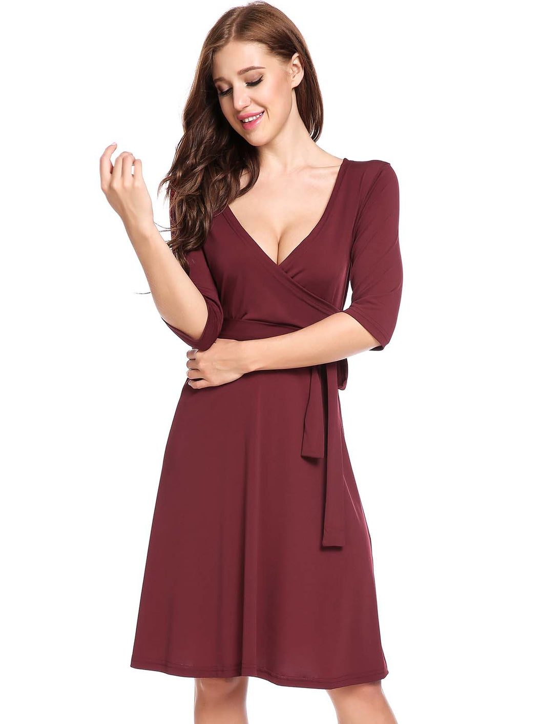 ANGVNS Women Cross V-Neck Solid A-Line Pleated Hem Dress