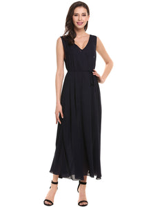 ACEVOG Women Loose Chiffon Pullover Maxi Dress with Waist Belt