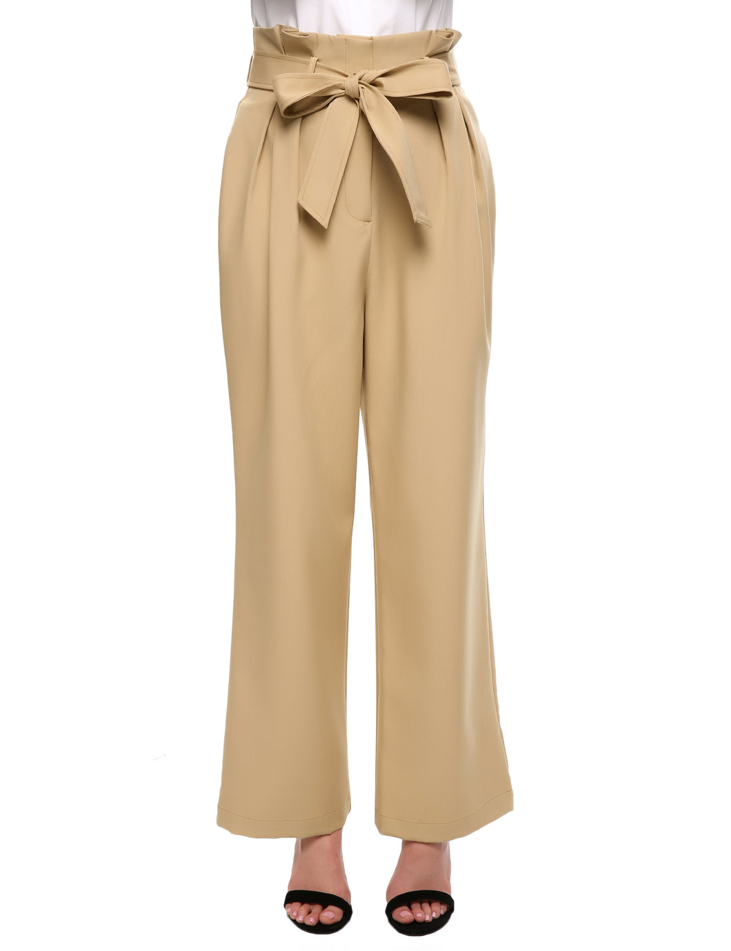 Meaneor Women Pleated High Waist Belted Solid Wide Leg Casual Pants