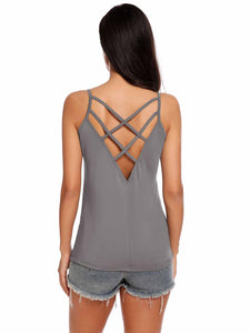 Meaneor Women  Loose Cross Back Pullover Vest Tank Top