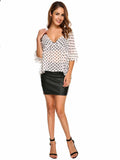Zeagoo Women's  Lace Up Flare Sleeve Polka Dot Sheer Chiffon Blouse