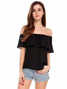 Women Sexy Off-shoulder Chiffon Blouse Ruffles Tops