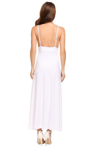Zeagoo Women Sexy Spaghetti Strap Sleeveless Solid Backless Long Dress