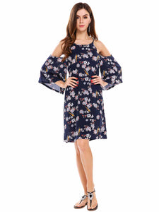 Zeagoo Women Cold Shoulder Flare Sleeve Floral Loose A-line Dress