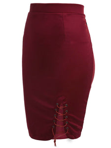 Meaneor Women Lace Up Stretch Split Skirt