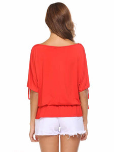 Zeagoo Women Batwing Sleeve Cold Shoulder Waisted Loose Tops