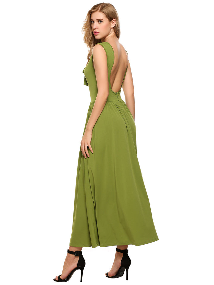ANGVNS Women Sexy V-Neck Sleeveless Solid Backless Tunic A-Line Pleated Hem Dress