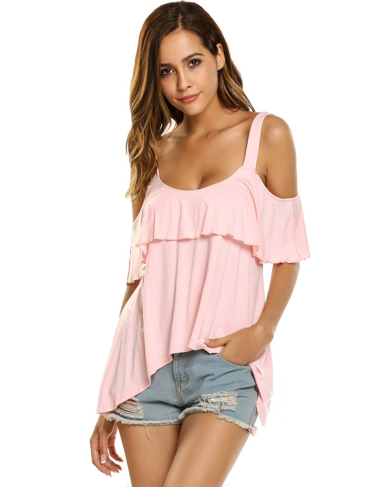 Zeagoo Women Cold Shoulder Ruffles Solid Irregular Blouse