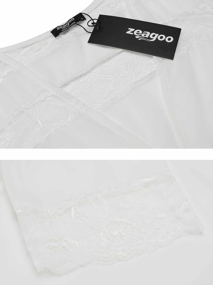Zeagoo Women 3/4 Sleeve Open Front Lace Chiffon Cover Up