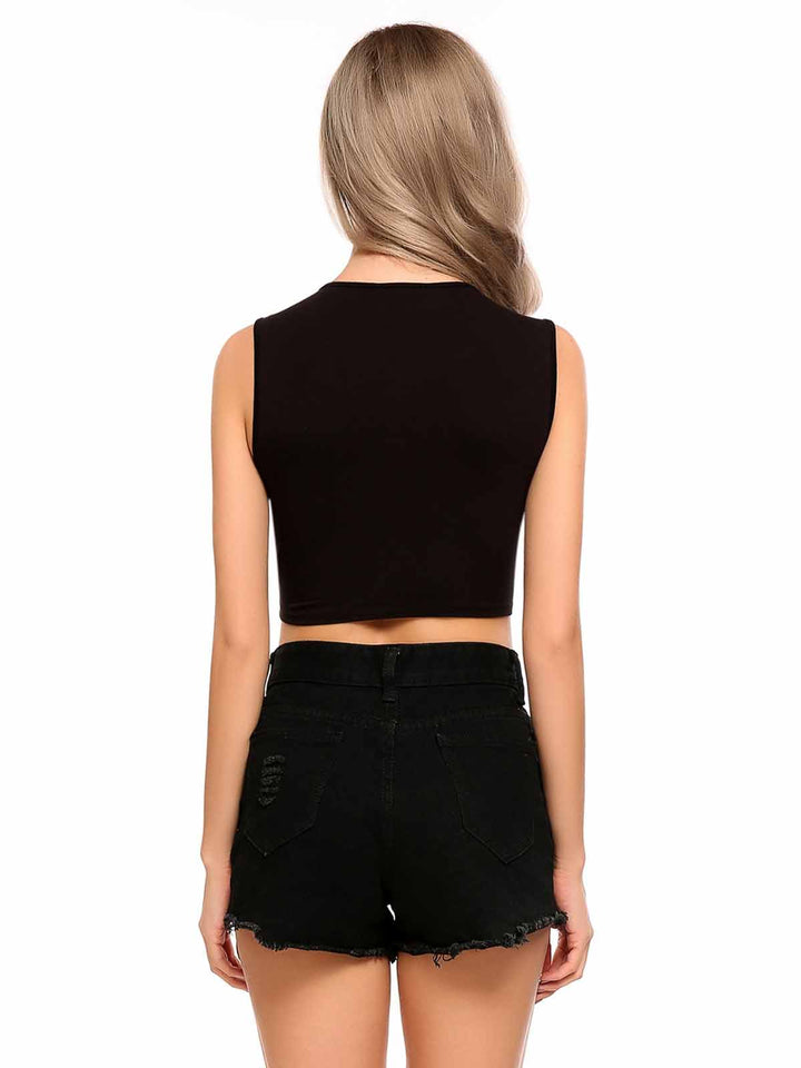 Zeagoo Women O-Neck Sleeveless Solid Front Tie Crop Top