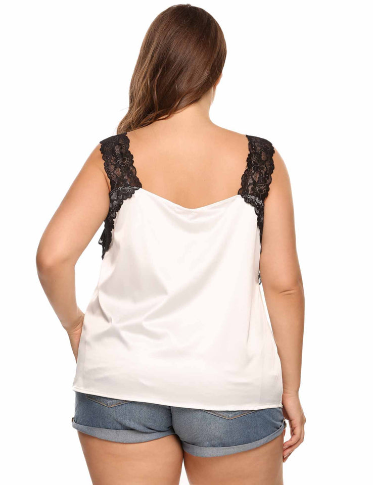 Plus Size Meaneor Women Spaghetti Strap Sleeveless Lace Tank Tops