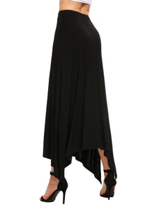 Women Stretch High Waist Slit Asymmetrical Maxi