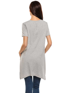 Meaneor Women  O-Neck Short Sleeve Solid Asymmetry Hem Loose Tops