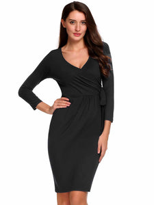 Women Vintage Long Sleeve Solid V Neck Self Tie Party Cocktail Pencil Wrap Dress