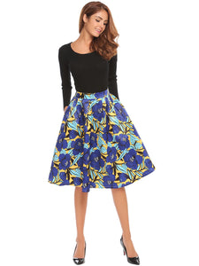 Angvns Women High Waist Pleated A-Line Skirt