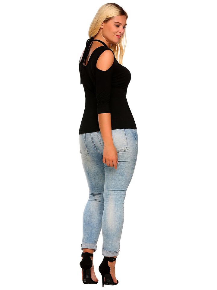 Fashion Plus Size Cold Shoulder O-Neck Half Sleeve Solid Lace-Up T-Shirt