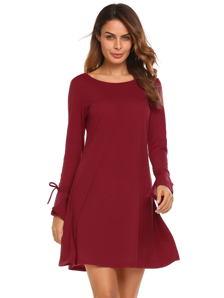ACEVOG Women Round Neck Flare Sleeve Solid Casual Loose Fit Tunic Dress XL
