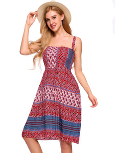 Women Strap Bohemia Style Print Mini Pleated Dress Casual Beach