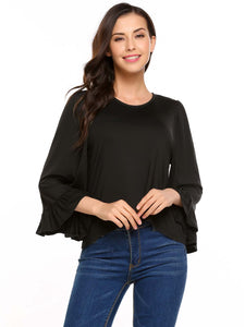 Meaneor Women O-Neck Flare Long Sleeve Ruffle Cuffs Solid Blouse