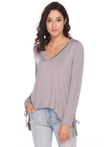 Meaneor Women V-Neck Long Sleeve Lace Up and Asymmetrical Hem Solid Blouse