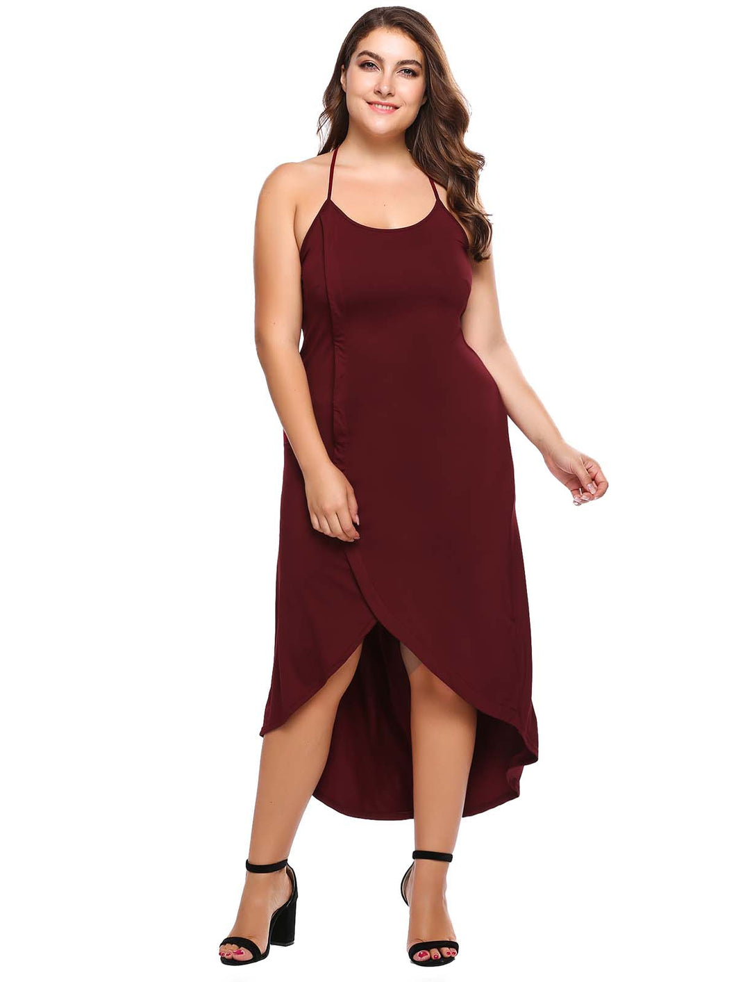Meaneor Women Halter Sleeveless Solid Loose Asymmetric Dress