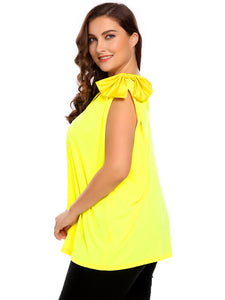 Women Fashion Plus Size V-Neck Sleeveless Solid Bow-Tie Tank Tops