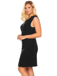 Involand Women's Sleeveless Draped Solid Bodycon Business Party Dress Plus Size