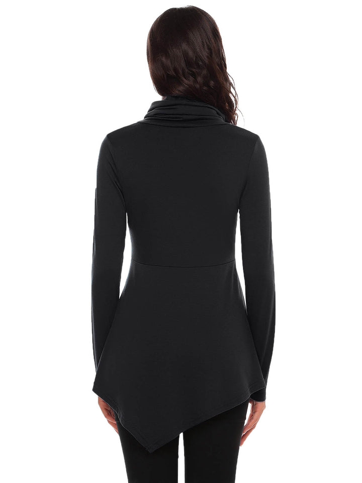 Meaneor Women Fashion High Neck Long Sleeve Solid Button T-Shirt