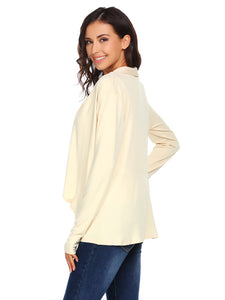 Women Casual Long Sleeve Asymmetrical Solid Open Front Cardigan