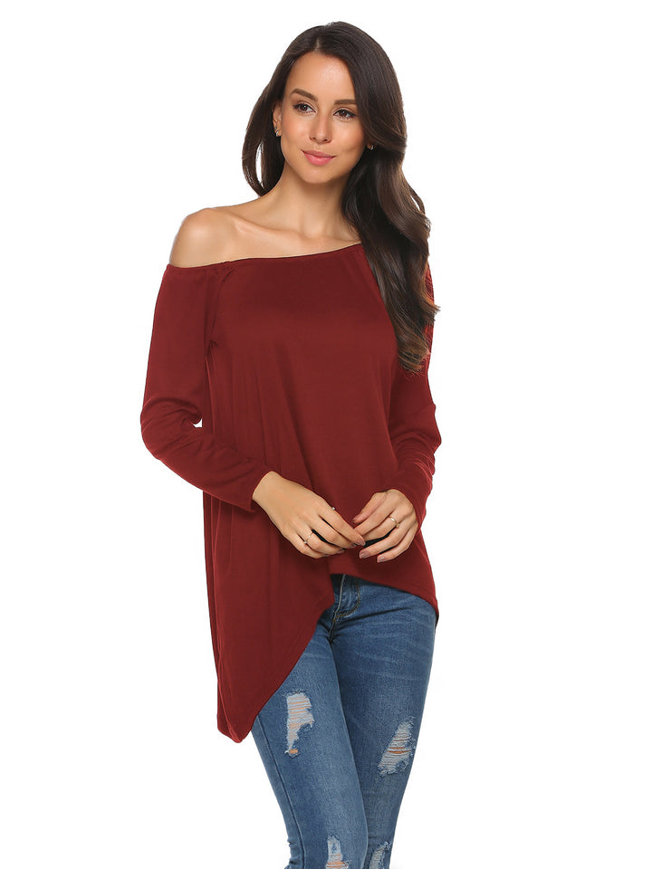 Women Sexy Long Sleeve One Shoulder Solid Loose Asymmetrical Blouse Tops T-Shirt