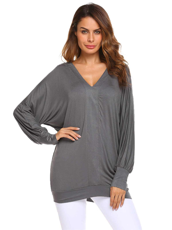 Meaneor Women Fashion V-Neck Long Sleeve Solid Loose T-Shirt