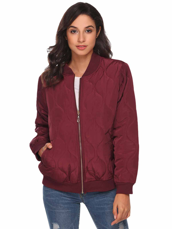 Meaneor Women Lightweight Long Sleeve Zip Up Casual Quilted Bomber Jacket w/ Pocket