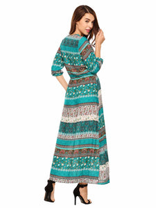 Sheshow Women Bohemian 3/4 Sleeve Print Tie-Waist V Neck Loose Maxi Dress