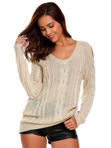 Meaneor Women Casual V-Neck Long Sleeve Solid Cold Shoulder Warm Sweater