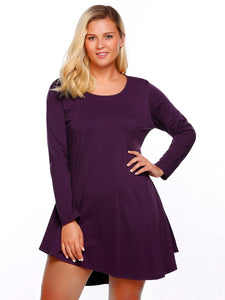 Involand Women Long Sleeve Long Asymmetric A-Line Dress