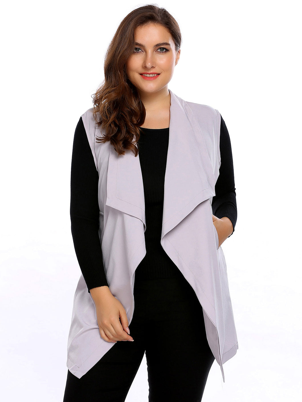 Casual Plus Size Sleeveless Open Front Solid Vest