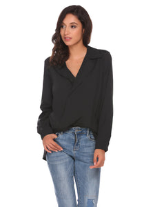 Womens Long Sleeve Slim High Low Hem Cross Front V-Neck Solid Casual Shirt