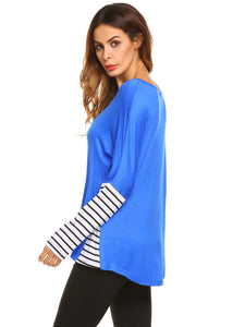 Meaneor Women Long Sleeve Patchwork Striped Loose Tee