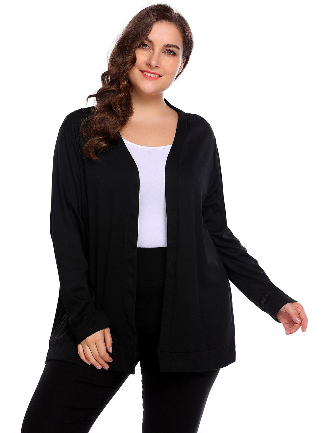 Involand Women Plus Size Long Sleeve Solid Open Front Knit Cardigan
