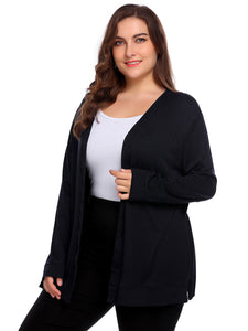 Involand Women Plus Size Long Sleeve Solid Open Front Knit Cardigan Navy Blue